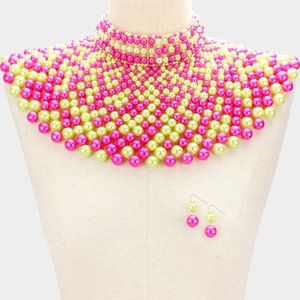 Pink & Yellow Pearl Armor Bib Choker Necklace
